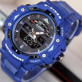 Harga D-ZINER DZ-8129 Black Resin Dual Time Mens Sports Analog Digital Watch (BLUE)