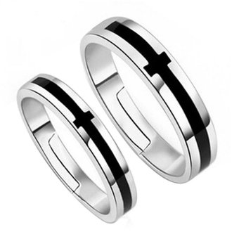Classic Cross Grooved Ring Romantic Love Pendant Couples Promise Rings Box Set Price Philippines