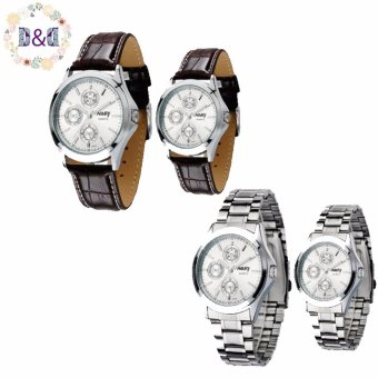Harga NARY 6104 Couple's Digital Stainless Steel/Leather Strap Quartz Watch Set of 2