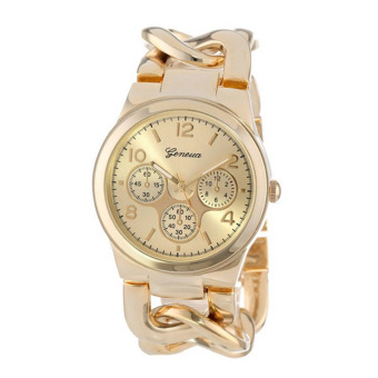 Harga Fashion Stylish Womens Watch Stainless Steel Band Quartz Wristwatch (Gold)