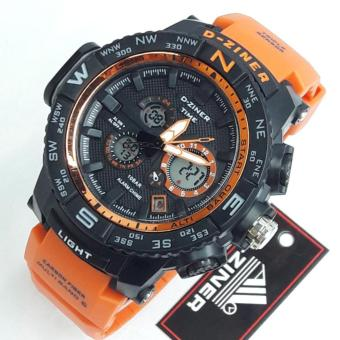 Harga D-Ziner DZ-8146 Resin Strap Watch Sport Watch (BLACK/ORANGE STRAP)