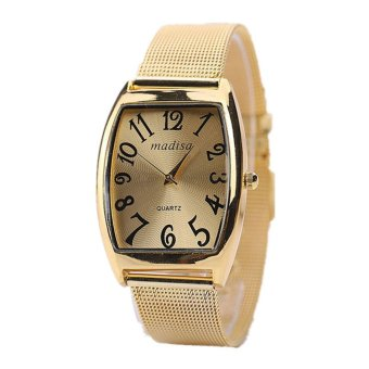 Harga Rectangular Head Women Lady Classic Quartz Stainless Steel Wrist Watch (Gold)