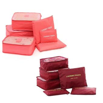Travel Pouch 6pcs Set (Peach,Maroon) Set of 2 Price Philippines