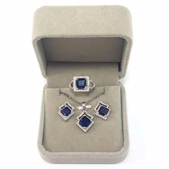 Jewelmine Arrow Blue Sapphire Cubic Zircon Jewelry Set (white gold) Price Philippines
