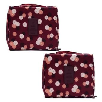 Travel Portable Waterproof Multi-Pouch Toiletry Cosmetic Bag (Maroon Printed) Set of 2 Price Philippines