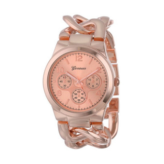 Harga Fashion Stylish Womens Watch Stainless Steel Band Quartz Wristwatch (Rose Gold)