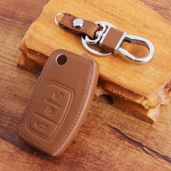 Harga for Ford Focus 2 Ecosport Fiesta Mondeo Ecosport Kuga brown Leather key chain ring cover case holder - Intl