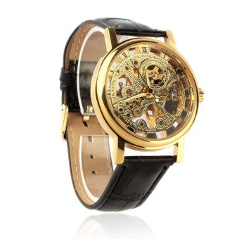 Harga Men's Luxury Mechanical Skeleton Watch Leather Strap Wristwatch (Gold)