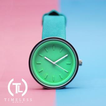 Timeless Manila Round Colored Denim Leather Watch (Cyan) Price Philippines
