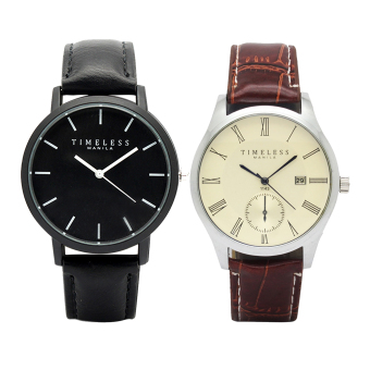 Timeless Manila Jules Linear Leather Watch (Black) with Free Timeless Manila Justine Roman Numeral Datejust Leather Watch (Brown) Price Philippines