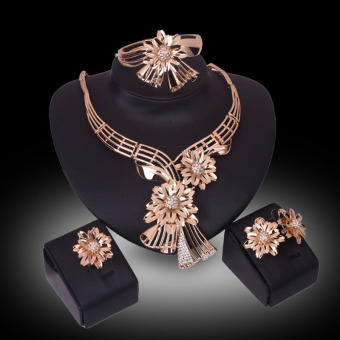 Harga Rich Long Gold Plated Crystal Rhinestone Necklace & Earrings Jewelry Sets - Intl