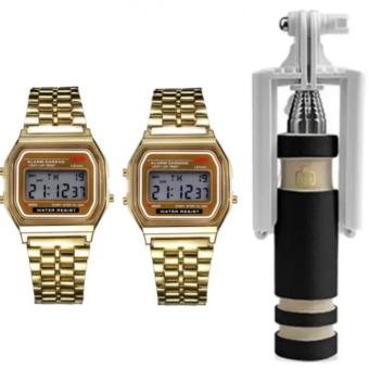 Harga Landfox Women's Gold Stainless Steel Strap Watch Set of 2 and with 13.5cm Mini Foldable Monopod