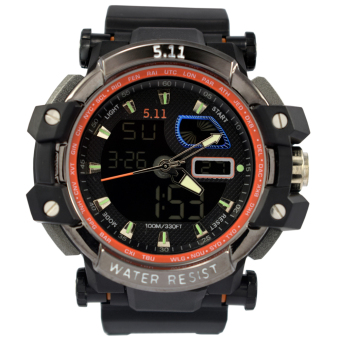 Harga SportsWatch 5.11 Tactical Series H.R.T Titanium Military Watch Black Rubber Strap (#041)