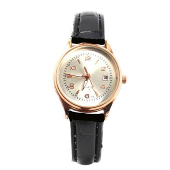 Harga Piedras WT27A woman Black and white Leather strap watch (black)