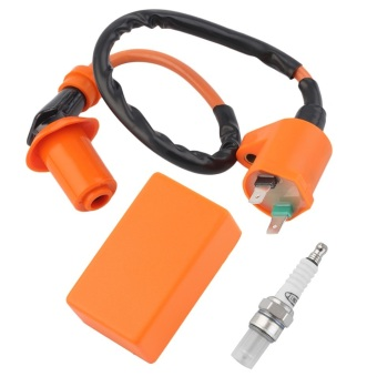 Harga Allwin Racing Performance CDI Ignition Coil Spark Plug Fit Gy6 50cc 125cc 150cc Orange & black