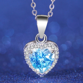 Women 925 Silver Necklace Romantic Jewelry Genuine Blue Topaz Gemstone Heart Pendant Price Philippines