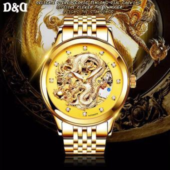 Harga NARY 18028 Gold Legend of the Dragon Stainless Steel Luminous Full Automatic Hollow Mechanical Watch (Gold/Yellow)