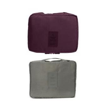 Monopoly Portable Waterproof Multi-Pouch Travel Toiletry Cosmetic Bag Set of 2 (Maroon,Gray) Price Philippines