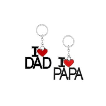 2pcs I LOVE DAD Key Chain I LOVE PAPA Key Ring for Father's Day Dad Gift - intl Price Philippines