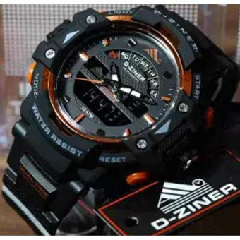 Harga D-ZINER DZ-8129 Black Resin Dual Time Mens Sports Analog Digital Watch (ORANGE/BLACK STRAP)