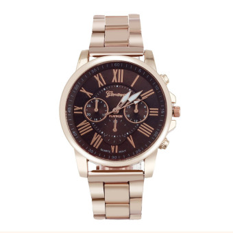 Harga Roman Number Geneva Stainless Steel Quartz Sports Dial Wrist Watch (Coffee)