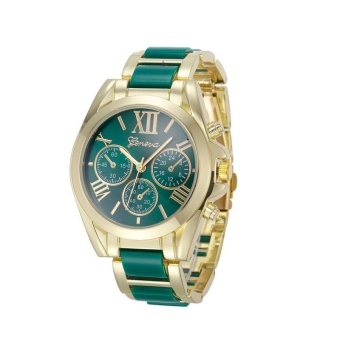Harga Roman Numeral Gold Plated Metal/Nylon Link Watch (Green)
