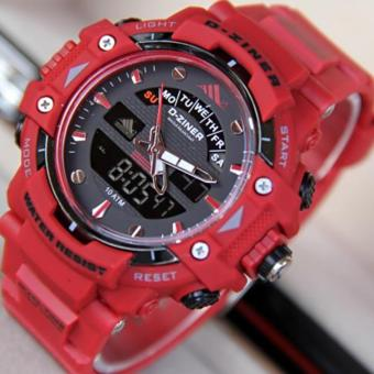 Harga D-ZINER DZ-8129 Black Resin Dual Time Mens Sports Analog Digital Watch (RED)