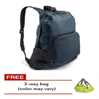 Harga Foldable Bag Pack (Navy Blue) free 3-Way Bag (Color May Vary)