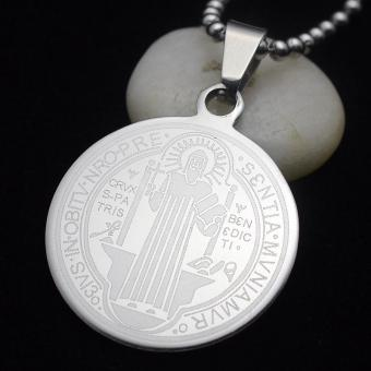 Men's High Polished Stainless Steel Patron Saint St. Benedict Holy Medal Pendant Necklace Free Chain 50CM Long - intl Price Philippines