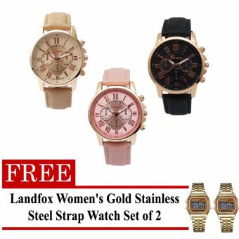 Harga Geneva Women's Roman Leather Strap Watch Pink/Beige/Black with FREE Landfox Women's Gold Stainless Steel Strap Watch Set of 2