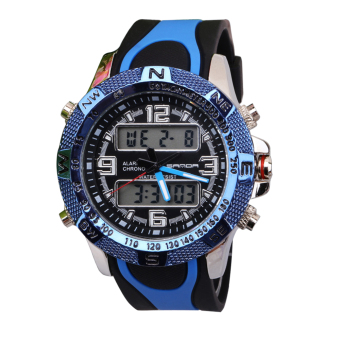 SANDA 703 Outdoor Sports Multifunctional Dual Display Noctilucent Watch(blue) Price Philippines