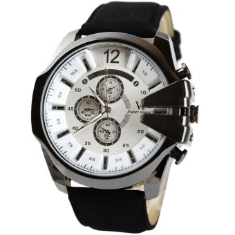 Harga Analog Sport Steel Case Quartz Dial Leather Wrist Watch Black+White