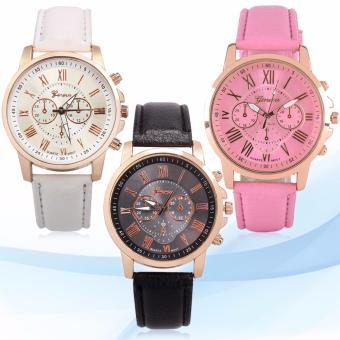 Geneva Women's Roman Leather Strap Watch Pink/White/Black Price Philippines