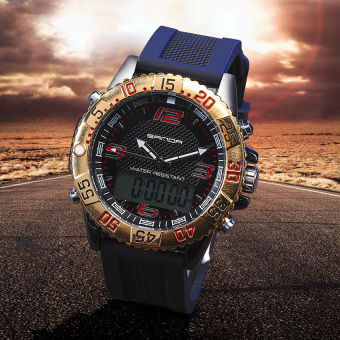 SANDA Men's Sports LED Digital Waterproof Silicone Wristwatch Watch (Gold) Price Philippines