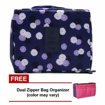 Harga Monopoly Portable Waterproof Multi-Pouch Travel Toiletry Cosmetic Bag (Navy Blue Floral) with Free Dual Zipper Bag (Color May Vary)