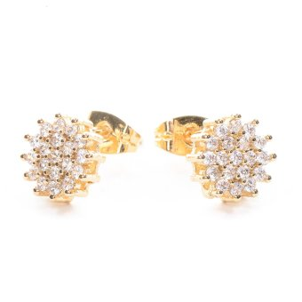 Harga Piedras jewelry Cubic Zirconia 18k plating stud Earrings (Yellow Gold)