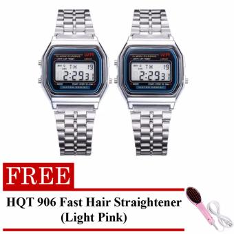 Harga Landfox Women's Silver Stainless Steel Strap Watch Set of 2 with FREE HQT 906 Fast Hair Straightener (Light Pink)