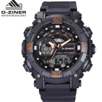 Harga D-ZINER DZ-8168 BLACK RESIN DUAL TIME MEN'S SPORTS ANALOG DIGITAL WATCH (ORANGE/BLACK