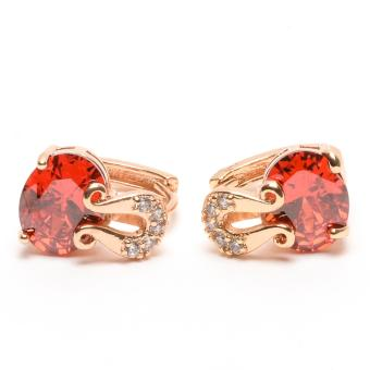Glamorosa Diamond Mustache Red Gemstone Hoop Earrings in Gold Price Philippines