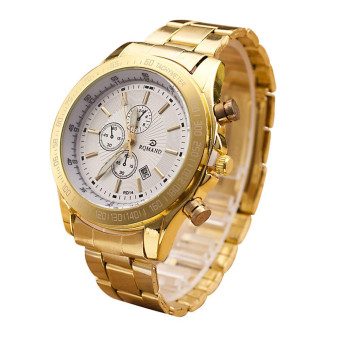 Harga Men Stainless Steel Watch Analog Quartz Movement Wrist Watches Gold