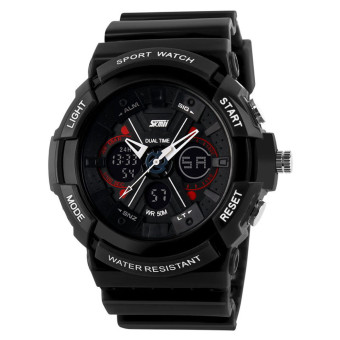 Harga Waterproof Digital LCD Alarm Date Mens Sport Wrist Watch Black