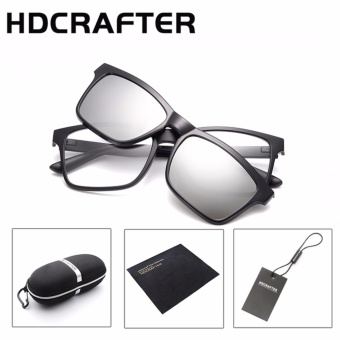 Harga HDCRAFTER Brand Magnetic Clip Retro TR90 Sunglasses Polarized Lens Vintage Unisex Eyewear Accessories Sun Glasses For Men/Women - intl