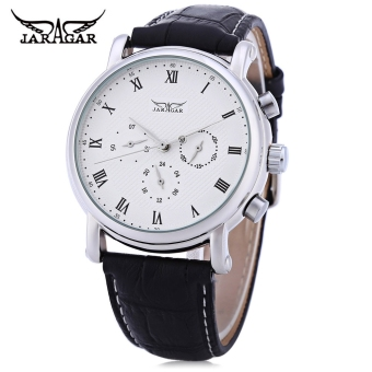 Harga JARAGAR F1205306 Male Auto Mechanical Watch 24 hours Calendar Display Transparent Back Cover Wristwatch - intl