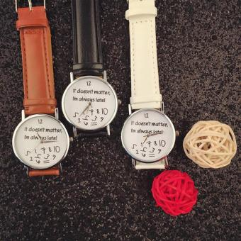 Geneva 3 in 1 Collexione It Doesnt Matter, Im Always Late! Fashion Leather Watch (White, Black, Brown) Price Philippines