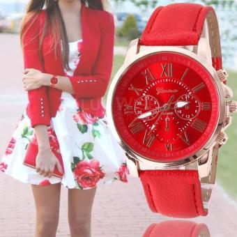 Geneva Women's Roman Leather Strap Watch (Red) Price Philippines