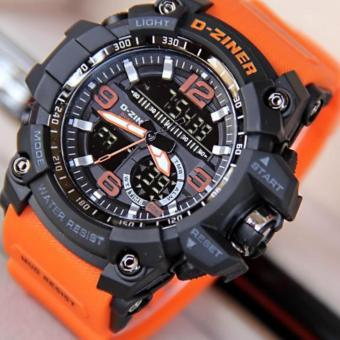 Harga D-ZINER DZ-8143 Dual Time Men's Sports Analog Digital Watch (BLACK/ORANGE STRAP)