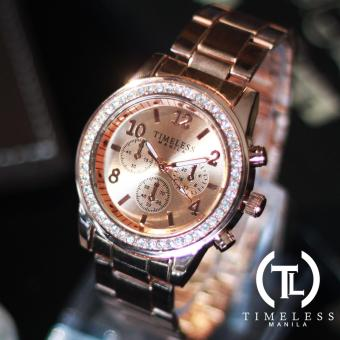 Timeless Manila Charlotte Crystal Studded Chrono Metal Watch (Rosegold) Price Philippines