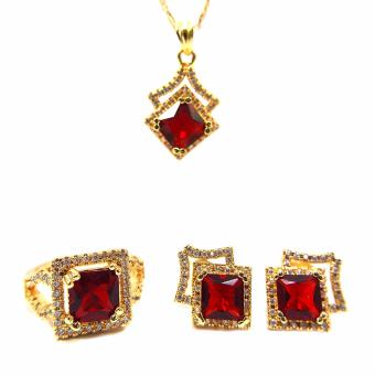 Jewelmine Arrow Ruby Cubic Zircon Jewelry Set (gold) Price Philippines