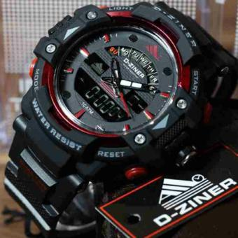 Harga D-ZINER DZ-8129 Black Resin Dual Time Mens Sports Analog Digital Watch (RED/BLACK STRAP)