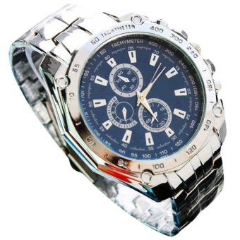 Harga Three Eyes Six Steel Needle Fashion Men's Business Watch Blue